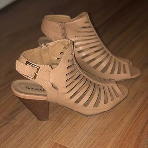 Shoes - Tan Tapered-Heel Sandals